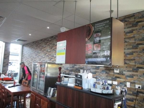 cafe wallpaper installation using slate lookalike wallpaper