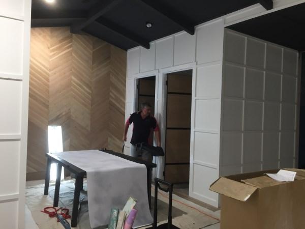 change room wallpaper installation - Gold Coast