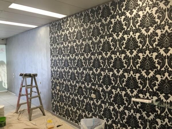commercial hair salon wallpaper installation