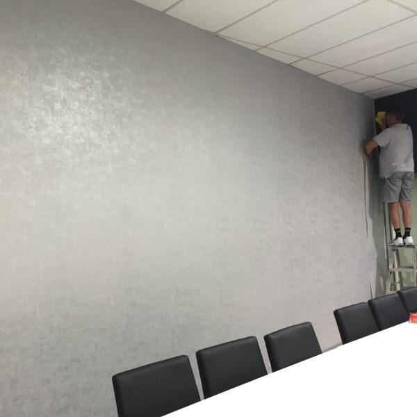 modern grey vinyl commercial wallpaper for a board room