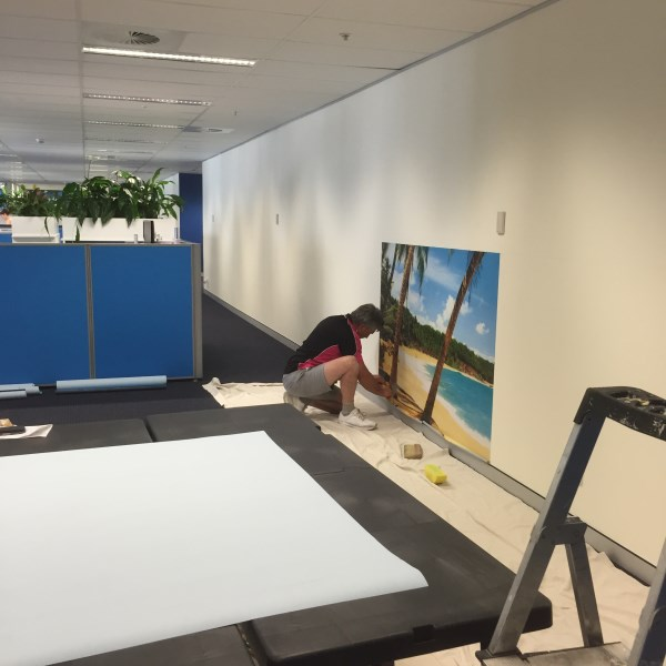 wall mural installation in lawyers office