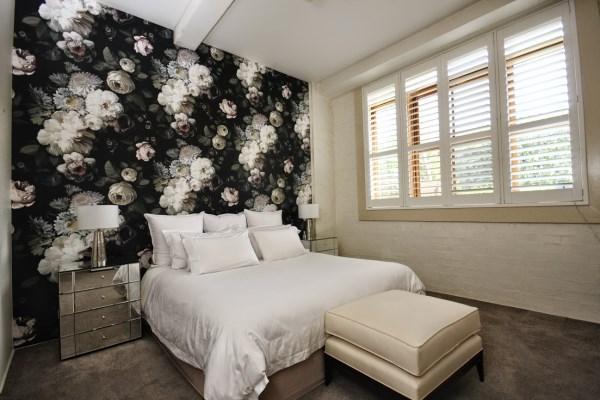Teneriffe wool store installation using Ellie Cashman wallpaper - Dark Floral