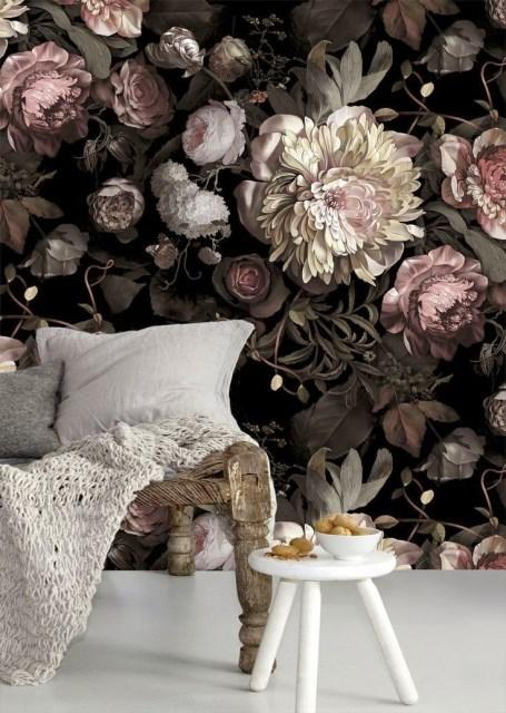 Ellie Cashman Dark Floral II Black Saturated Wallpaper