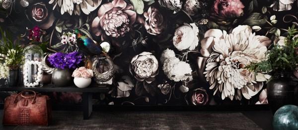 Ellie Cashman Floral Wallpaper Dark Floral II Black Saturated XL