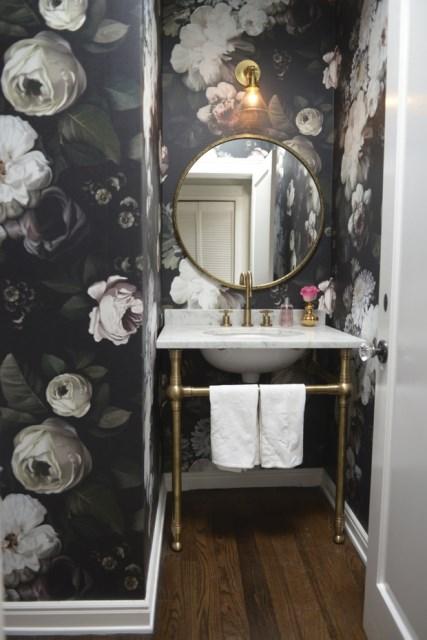 Ellie Cashman wallpaper - Dark Floral design in a powder room