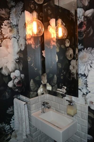 Ellie Cashman wallpaper installation in powder room Woolowin, Brisbane